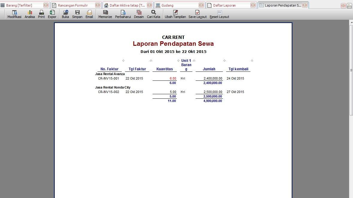 Software Akuntansi Accurate Untuk Rental Mobil