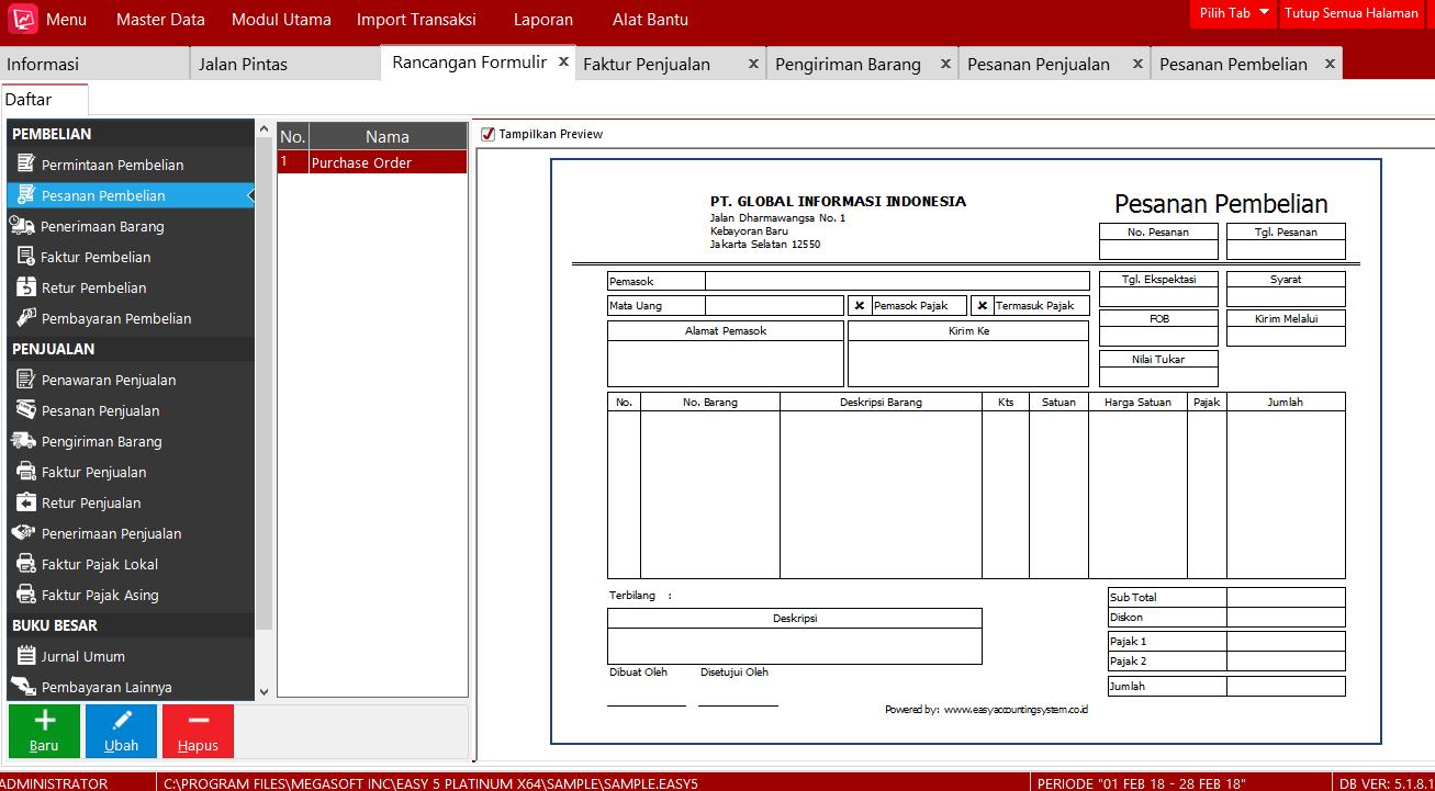 Cara setting untuk Menambahkan Kolom Rancangan Formulir Easy Accounting 5