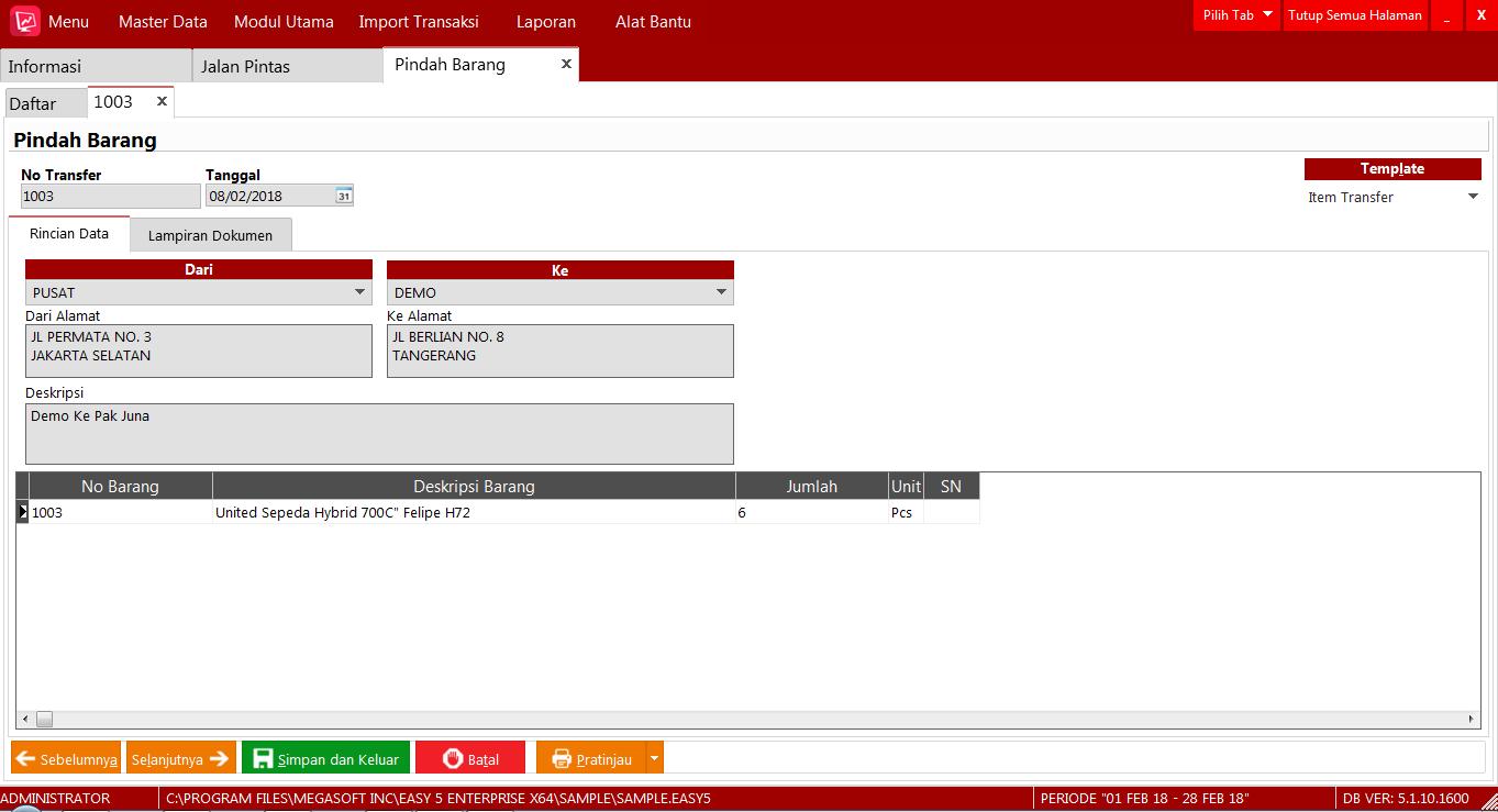 Cara Mengkontrol Persediaan Barang untuk Demo Produk di Easy Accounting System