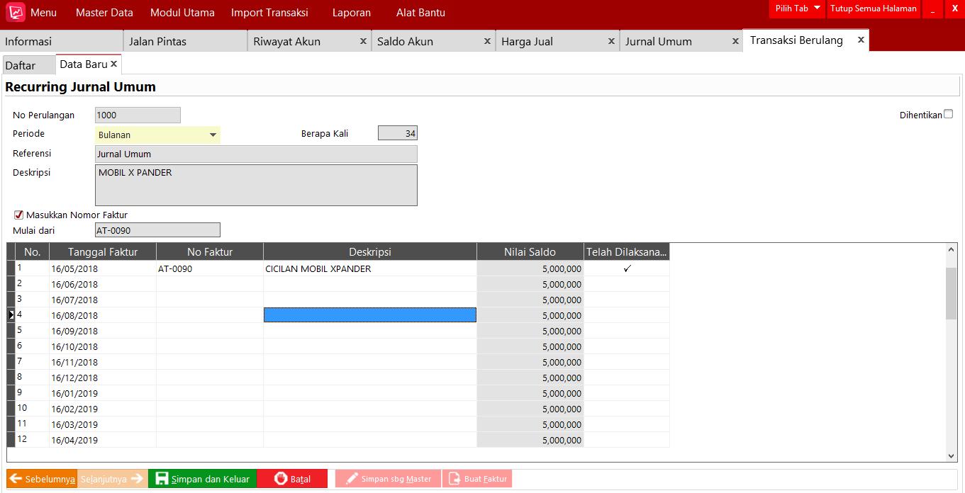 Cara Penggunaan Transaksi Berulang Jurnal Umum Di Easy Accounting 5